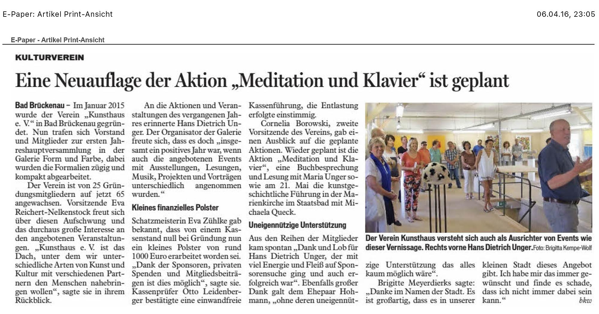 SaaleZeitung 06.04.2016 Kunsthaus